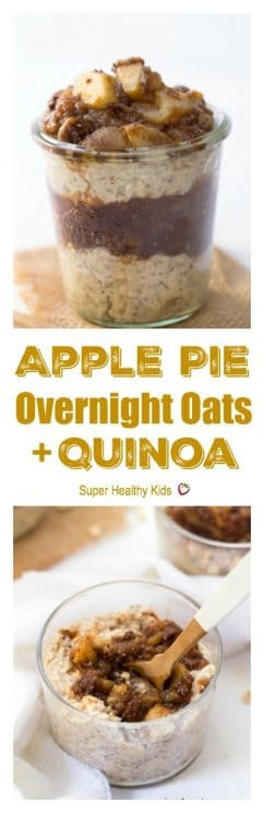 Apple Pie Overnight Oats + Quinoa - a simple, healthy and absolutely delicious way to start the day. https://www.superhealthykids.com/apple-pie-overnight-oats-quinoa/