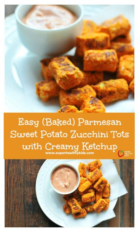 FOOD - Easy (Baked) Parmesan Sweet Potato Zucchini Tots with Creamy Ketchup - These aren't just your regular tater tots! They have 2 veggies that pack in way more nutrition than just regular potatoes. Plus your kids will love helping you make these! https://www.superhealthykids.com/easy-baked-parmesan-sweet-potato-zucchini-tots-creamy-ketchup/