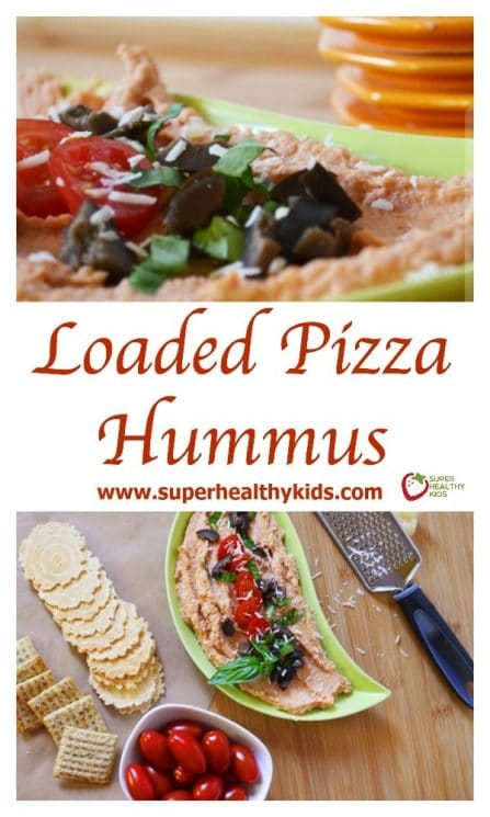 FOOD - Loaded Pizza Hummus. Perfect for snacking or a perfect savory party food! https://www.superhealthykids.com/loaded-pizza-hummus/