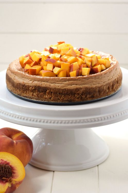 Peach Cheesecake Recipe. This delicious peach cheesecake is lightened up with greek yogurt and made with no refined sugar. Dessert you can feel good about feeding to your kids! www.superhealthykids.com