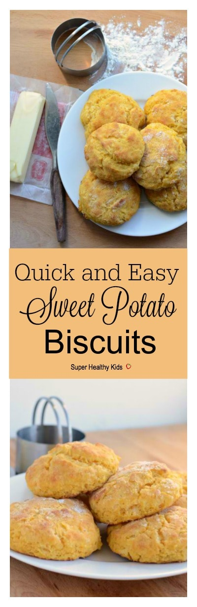 FOOD - Quick and Easy Sweet Potato Biscuits. Adding the super food, sweet potatoes, gives you so much more nutrients in these delicious biscuits! http://www.superhealthykids.com/quick-easy-sweet-potato-biscuits/