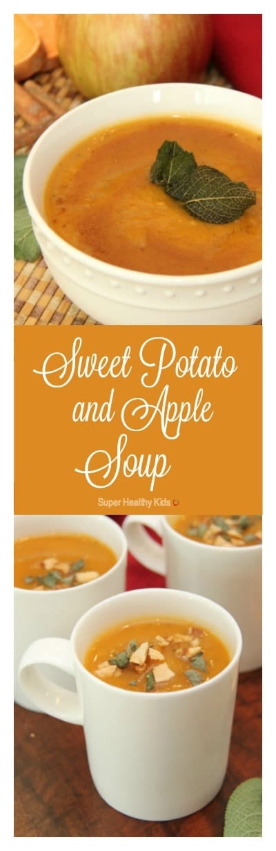 Sweet Potato and Apple Soup Recipe. A perfect balance of sweet and savory flavors that is gluten-free and dairy-free. https://www.superhealthykids.com/sweet-potato-apple-soup/