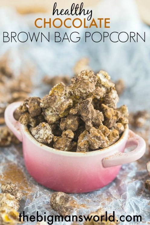 Healthy Chocolate Brown Bag Popcorn- Quick, easy and a wholesome sweet treat or snack!