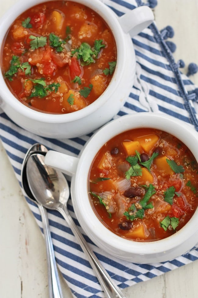 We love this Slow Cooker Quinoa and Vegetable Soup! Gluten free, vegan, and absolutely delicious!
