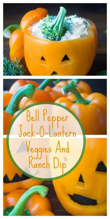 Bell Pepper Jack-O-Lantern Veggies And Ranch Dip