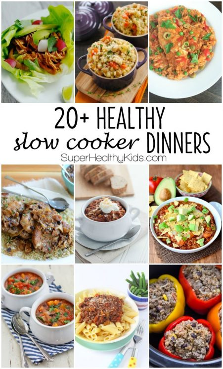 FOOD - 20 + Healthy Slow Cooker Dinners. No cream soups allowed! Just good, wholesome ingredients. Serve your family any of these healthy dinners with the convenience of using the slow cooker to prepare it. https://www.superhealthykids.com/20-healthy-slow-cooker-dinners/