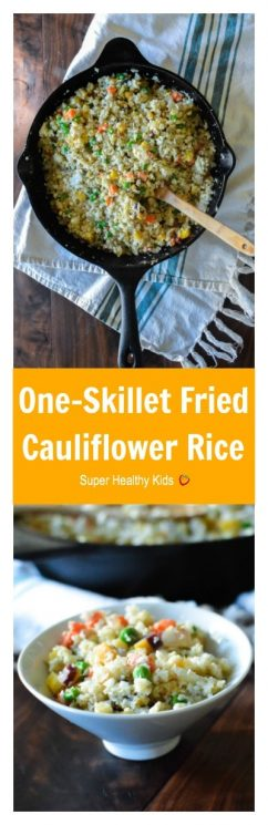 FOOD - One-Skillet Fried Cauliflower Rice. Fried Rice without the Rice?!? You will love what we used instead! https://www.superhealthykids.com/one-skillet-fried-cauliflower-rice/