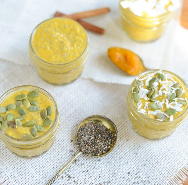 Pumpkin Chia Seed Pudding takes just minutes to make, is packed with good-for-you ingredients, and is perfect for breakfast, dessert, or a healthy lunchbox treat.