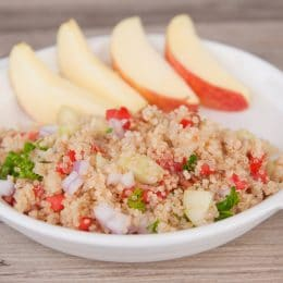 quinoa tabbouleh with apple slices