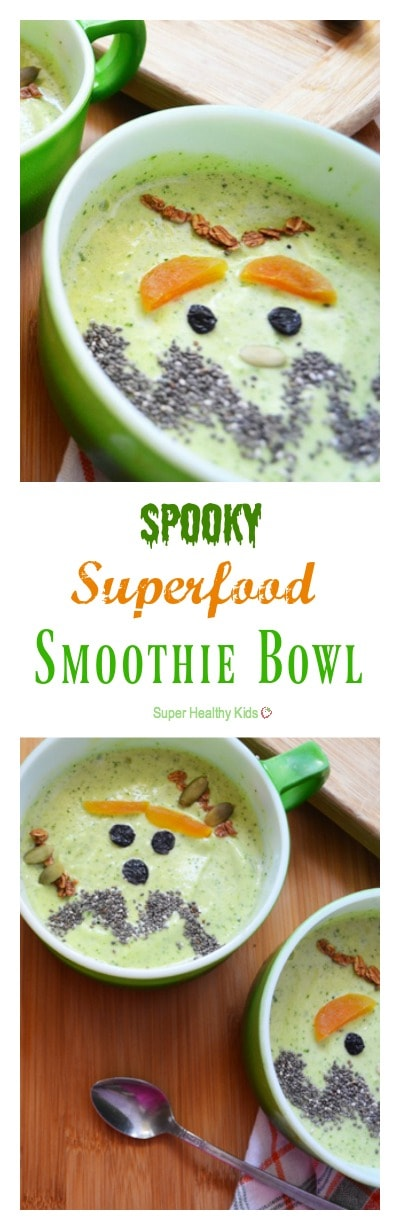 Spooky Superfood Smoothie Bowl for Halloween. These smoothie bowls for breakfast are a healthy way to start the day, any time of year! https://www.superhealthykids.com/spooky-superfood-smoothie-bowl-halloween/
