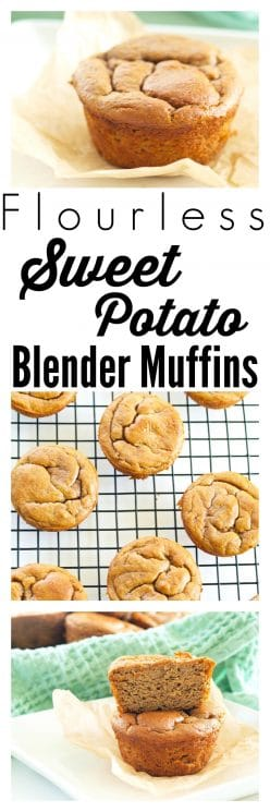 FOOD - Flourless Sweet Potato Blender Muffins. A muffin where the #1 ingredient is a veggie!?! Yes Please! These Sweet Potato Blender Muffins are made with NO flour, NO oil, and NO refined sugar. Just 5 minutes prep time makes this an easy, healthy breakfast recipe! www.superhealthykids.com
