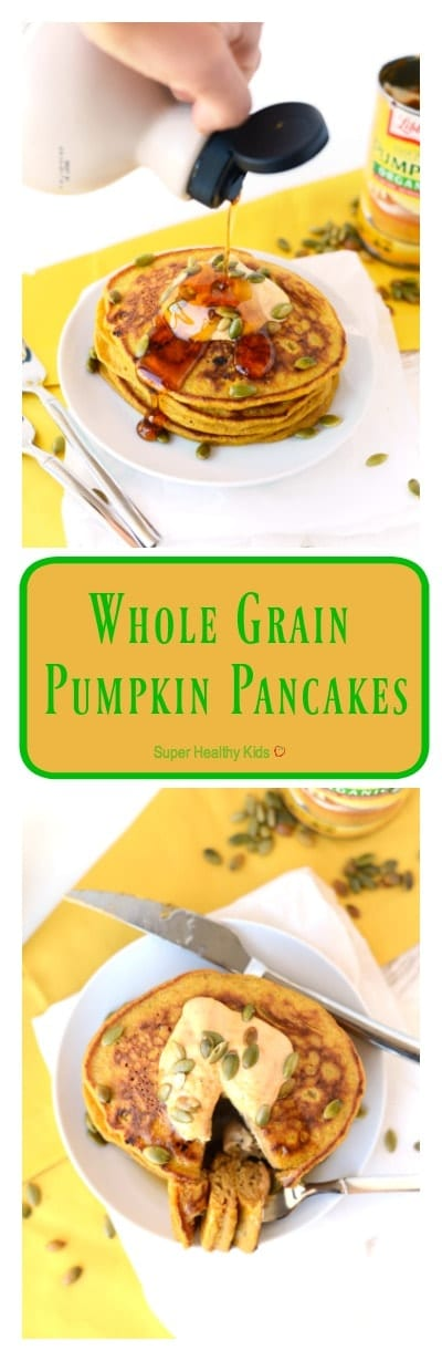 FOOD - Whole Grain Pumpkin Pancakes. Get festive with fall and make these 100% whole grain pumpkin pancakes sweetened fruit and that will also give you a serving of veggies at breakfast! https://www.superhealthykids.com/whole-grain-pumpkin-pancakes/