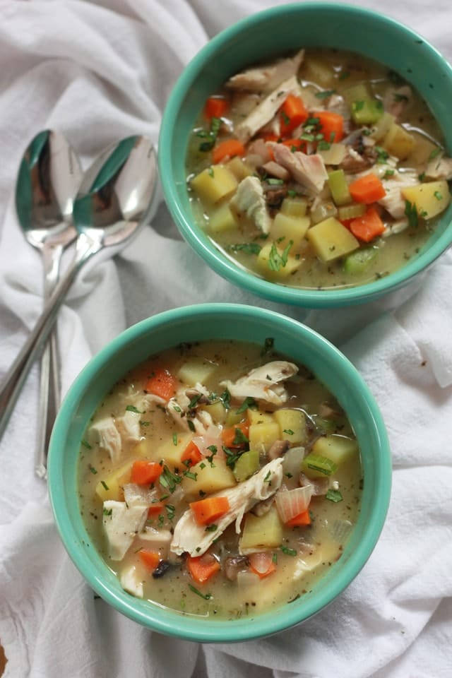 Chicken Pot Pie Soup - Everything you love about pot pie without the work (or calories) of a crust. Gluten free, dairy free, and delicious!