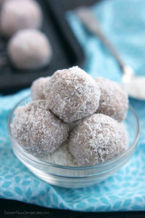 These no-bake healthy Coconut Snowballs are easy and delicious! A great holiday dessert to share with friends.