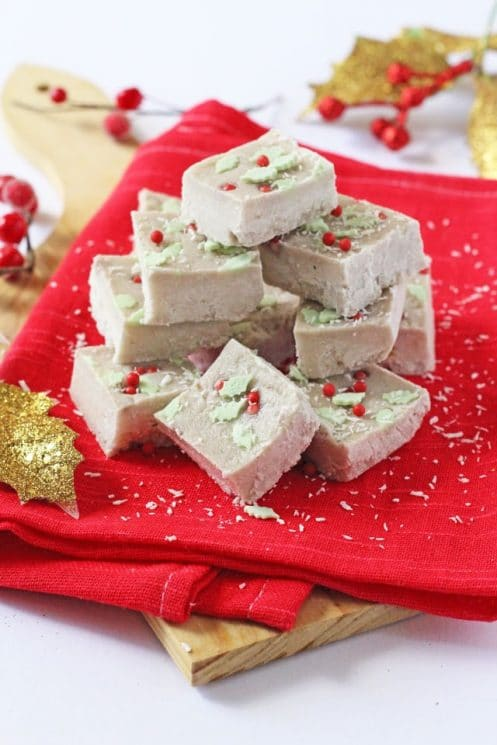 Healthy Coconut and Banana Christmas Fudge. A super healthy Christmas fudge made with just two natural ingredients and no added sugar!
