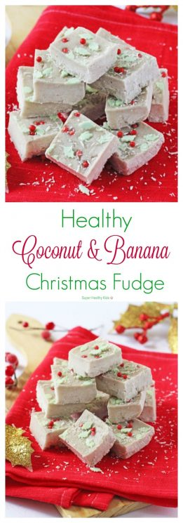 Healthy Coconut and Banana Christmas Fudge. A super healthy Christmas fudge made with just two natural ingredients and no added sugar! https://www.superhealthykids.com/healthy-coconut-banana-christmas-fudge/