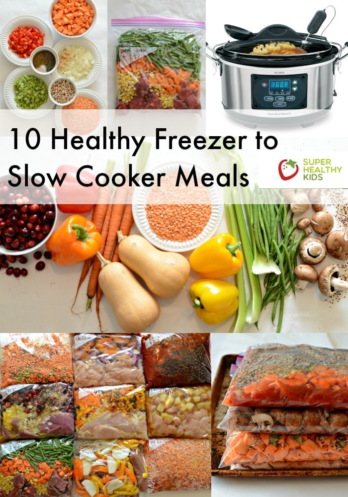 FOOD - 10 Quick and Healthy Freezer to Slow Cooker Meals (NO prep cooking needed!) These healthy freezer to slow cooker meals include 4 vegetarian recipes, 4 chicken dishes, and 2 beef. http://www.superhealthykids.com/10-quick-healthy-freezer-slow-cooker-meals-no-prep-cooking-needed/