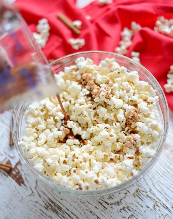 Maple Snickerdoodle Popcorn. Taste like snickerdoodle cookies, but with much less work and with more fiber and less sugar! www.superhealthykids.com