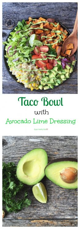 Taco Bowl with Avocado Lime Dressing. Move aside Cafe Rio! This taco bowl is fresh, amazingly delicious and can be made right in the comfort of your own kitchen! https://www.superhealthykids.com/taco-bowl-avocado-lime-dressing/