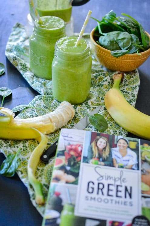 Simple Green Smoothies Book Review + Beginner's Luck Smoothie. If you or your kids have been hesitant to drink green smoothies, this Beginner's Luck Smoothie is the key to your smoothie heart. Sweet, cold, and delicious - it is the ticket to starting your green smoothie habit!