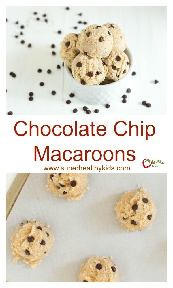 FOOD - Chocolate Chip Macaroons are vegan, gluten free and can be made raw. They are a healthier alternative to the traditional macaroon cookie! http://www.superhealthykids.com/chocolate-chip-macaroons/