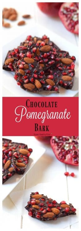 Chocolate Pomegranate Bark with Almonds. Made with just 3 ingredients, this delicious healthy dessert is the perfect way to enjoy pomegranate season! https://www.superhealthykids.com/chocolate-pomegranate-bark/