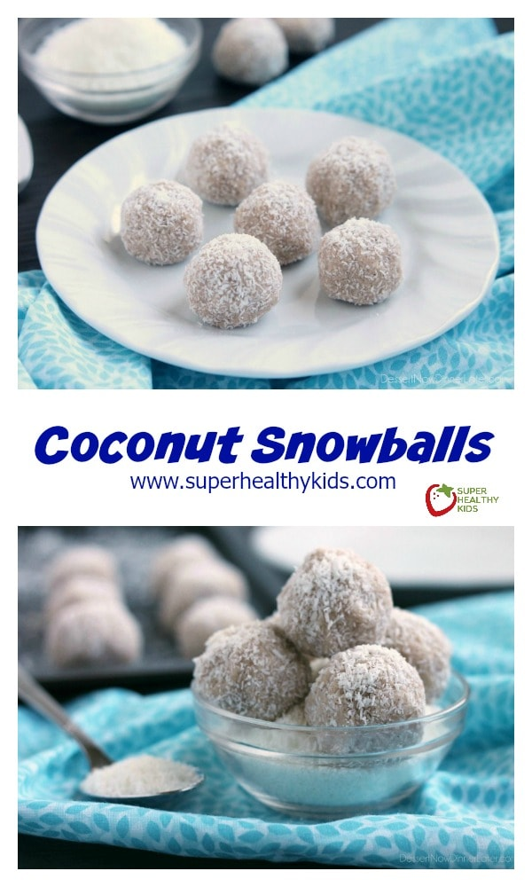 Coconut Snowballs. These no-bake healthy Coconut Snowballs are easy and delicious! A great holiday dessert to share with friends. http://www.superhealthykids.com/coconut-snowballs/