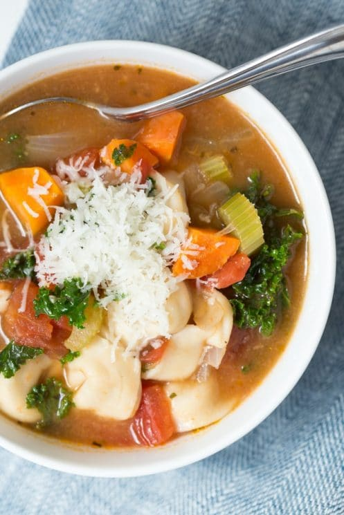 Easy Vegetable Tortellini Soup is made with fresh veggies, tortellini and a few simple seasonings. Kids and adults will love this soup that is made in under 30 minutes!