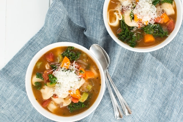 Easy Vegetable Tortellini Soup on Super Healthy Kids