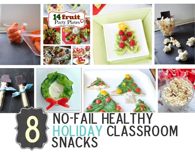 8 No-Fail (HEALTHY) Holiday Classroom Snacks. Instead of all the junk - try some of these ideas! https://www.superhealthykids.com/8-no-fail-healthy-holiday-classroom-snacks/