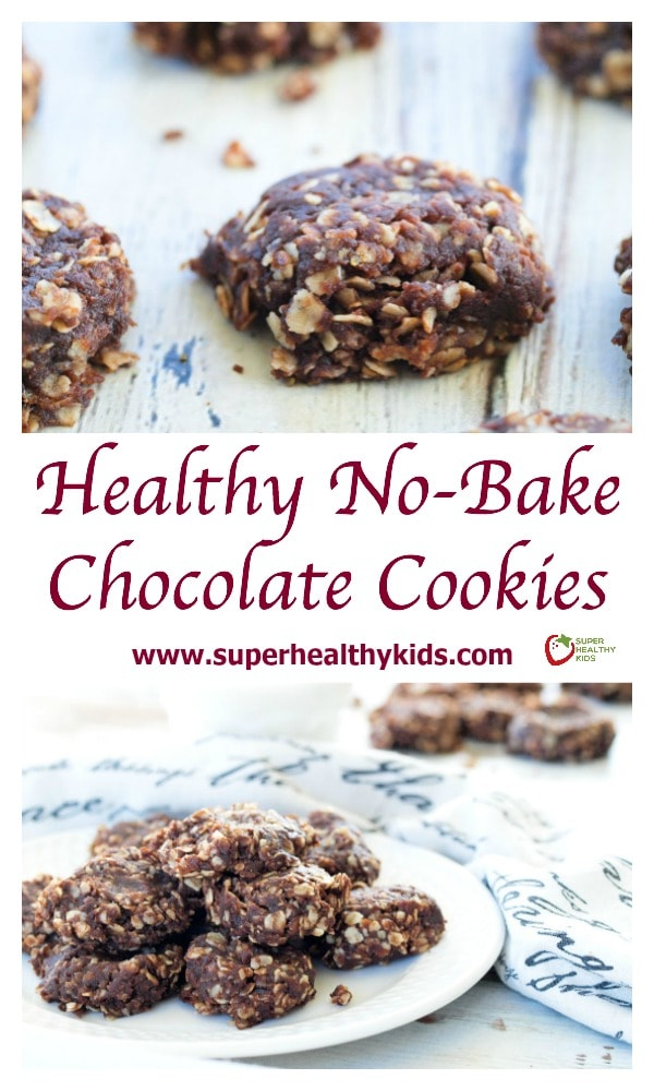 Healthy No-Bake Chocolate Cookies. Twist on a classic chocolate no-bake cookie with 1/4 of the sugar!
