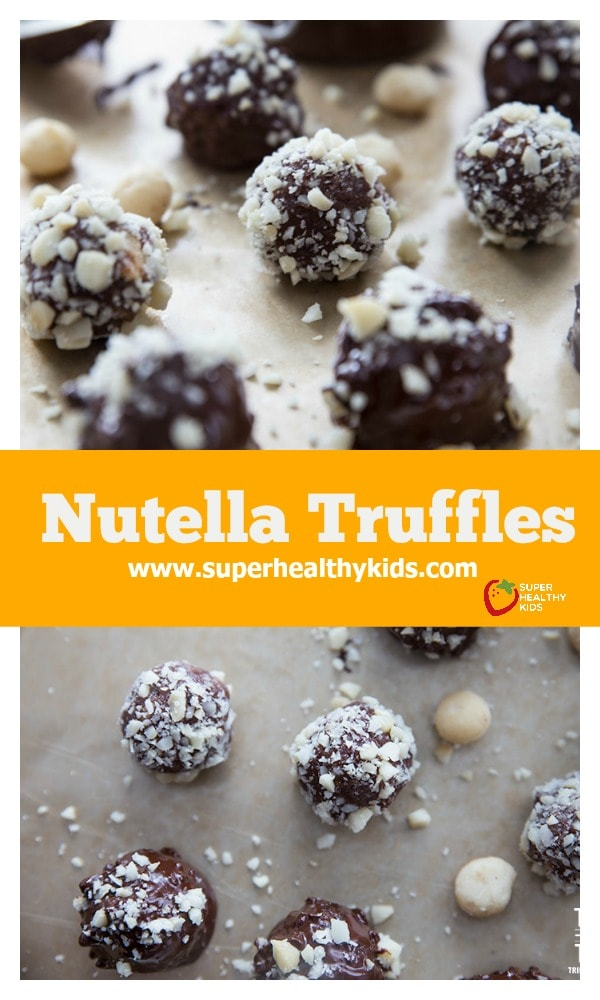 FOOD - Nutella Truffles. These Nutella Truffles are made without any refined sugar, sweetened naturally with dates. These truffles are out of this world! https://www.superhealthykids.com/nutella-truffles/