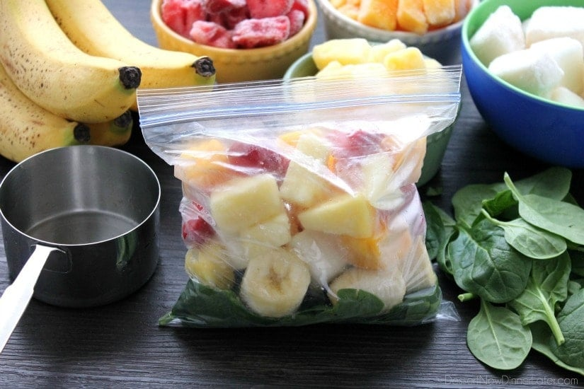 Freezer Smoothie Packs. Just add water or milk to these make ahead freezer smoothie packs for a quick, delicious, and nutritious breakfast or snack anytime!