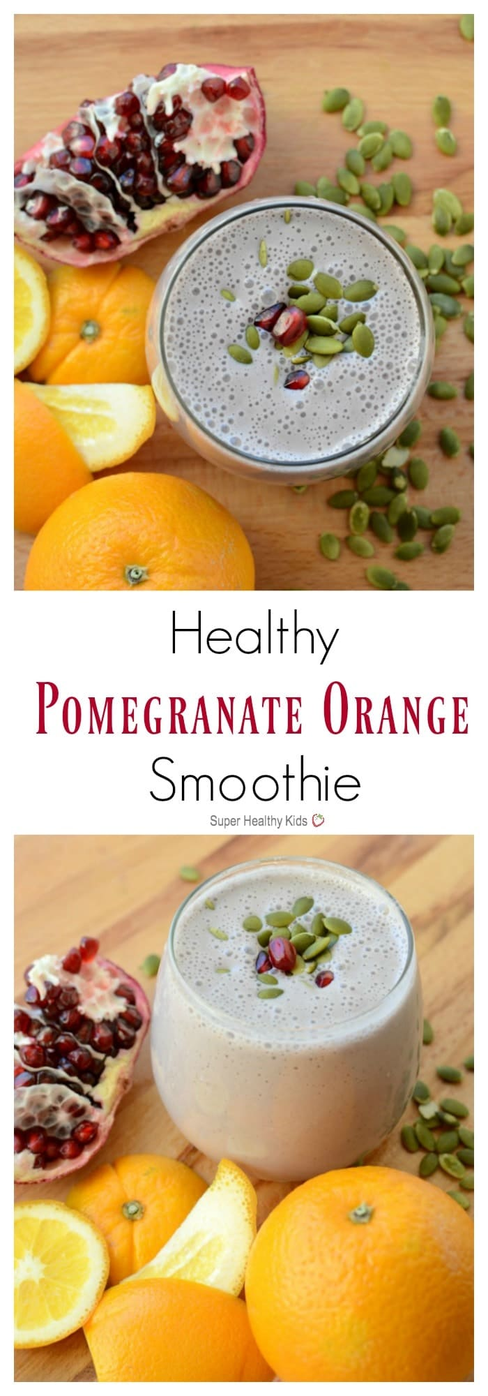 Healthy Pomegranate Orange Smoothie. Citrusy, sweet and amazingly refreshing! https://www.superhealthykids.com/healthy-pomegranate-orange-smoothie-january/