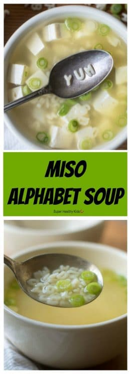 FOOD - Miso Alphabet Soup. Introduce new flavors to your kids in a fun way! https://www.superhealthykids.com/miso-alphabet-soup/