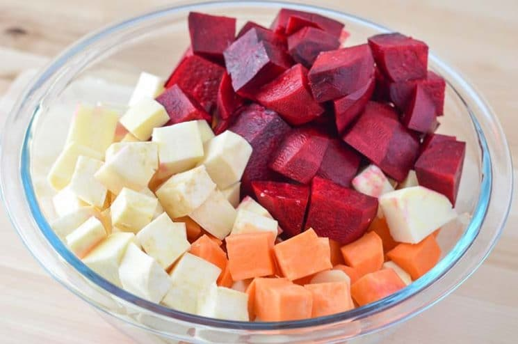 Oven Roasted Sweets and Beets. A beautiful veggie side dish for your next dinner!