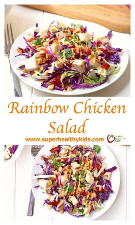 FOOD - Rainbow Chicken Salad. Adults and kids will love this colorful, healthy salad! Made with fresh veggies and a delicious homemade peanut dressing. https://www.superhealthykids.com/rainbow-chicken-salad/