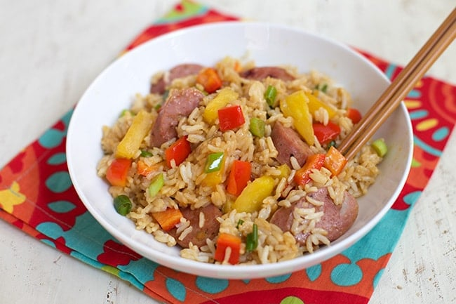 Pineapple Fried Rice - Get a colorful, flavorful dinner on the table in minutes. www.superhealthykids.com