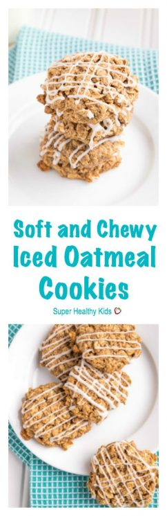 These Soft & Chewy Iced Oatmeal Cookies are just like you remember them as a kid but totally got a healthy makeover.