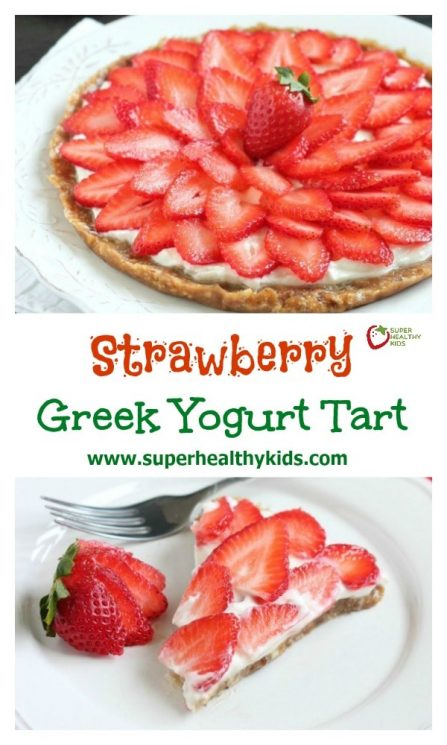 Strawberry Greek Yogurt Tart. This strawberry greek yogurt tart is secretly healthy and can be eaten for breakfast or dessert. Perfect for Valentine's day too!
