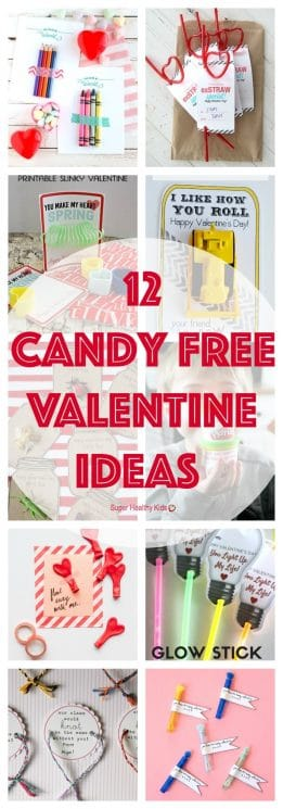 VALENTINE IDEAS - 12 Candy Free Valentine Ideas. Send your kiddo to school with one of these candy free treats this year! https://www.superhealthykids.com/12-candy-free-valentine-ideas/
