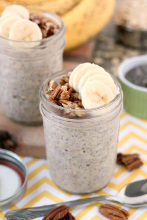 Banana bread inspired overnight oats are quick to whip up for a great breakfast or snack on-the-go! www.superhealthykids.com