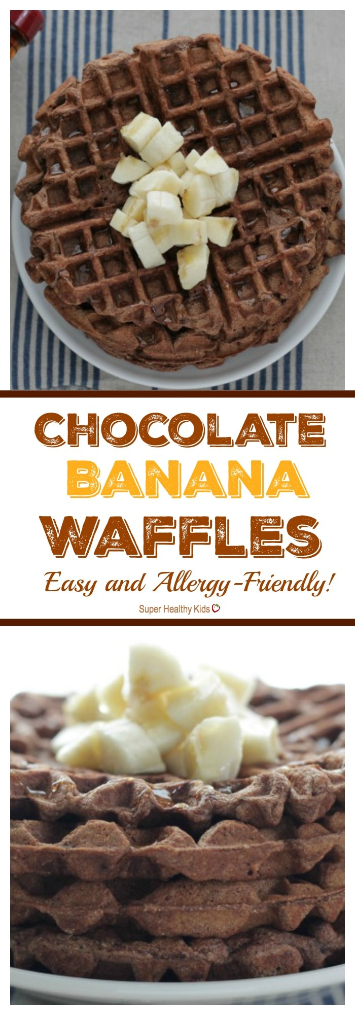 Healthy Chocolate Banana Waffles. A MUST have recipe! http://www.superhealthykids.com/chocolate-banana-waffles-easy-allergy-friendly/