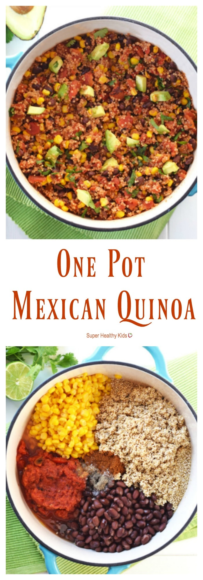 FOOD - One Pot Mexican Quinoa. Packed with protein and vegetables, it only takes 20 minutes to have this healthy, nutritious, gluten free dish on the table! https://www.superhealthykids.com/one-pot-mexican-quinoa/