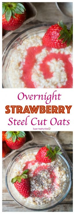 FOOD - Overnight Strawberry Steel Cut Oats. An easy, healthy breakfast made for busy mornings and hungry families! https://www.superhealthykids.com/overnight-strawberry-steel-cut-oats/