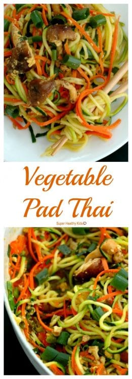 FOOD - Vegetable Pad Thai - a copycat restaurant favorite! https://www.superhealthykids.com/vegetable-pad-thai/