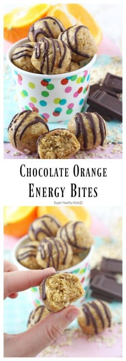 These Chocolate Orange Energy Bites make the perfect healthy snack for kids - chocolate and orange were meant to go together! https://www.superhealthykids.com/chocolate-orange-energy-bites/