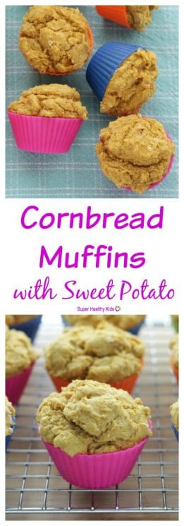 FOOD - Cornbread Muffins with Amazing Sweet Potato. Packed with sweet and nutritious sweet potato, your family will love these moist cornbread muffins. They are even dairy-, egg-, and nut-free! https://www.superhealthykids.com/cornbread-muffins-amazing-sweet-potato/