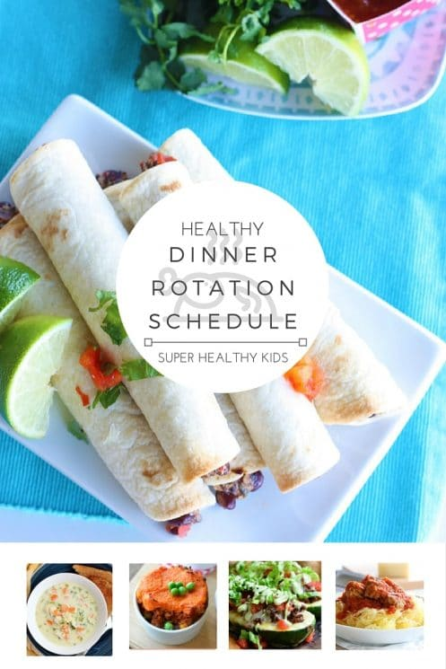 HEALTHY DINNER ROTATION SCHEDULE! Do you struggle with knowing what to eat for dinner every night? Want a fun way to involve the whole family at dinnertime? With this handy rotation schedule each day of the week brings a fun new dinner idea! You'll never run out of ideas on healthy ways to break up your day & you'll satisfy your hunger in the most nutritious way!