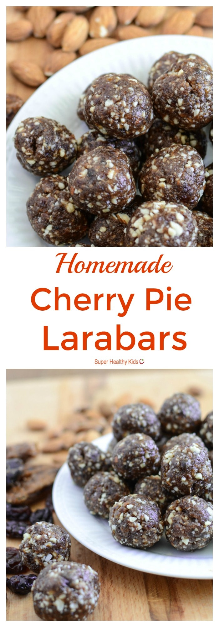 FOOD - Homemade Cherry Pie Larabars. A healthy cherry pie snack that is portable and easy to whip up! http://www.superhealthykids.com/homemade-cherry-pie-larabars-recipe/